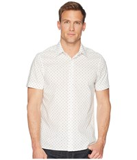 Perry Ellis Short Sleeve Slashed Dot Shirt Bright White Clothing
