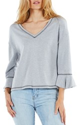Michael Stars Ruffle Sleeve Reversible Sweatshirt Heather Grey