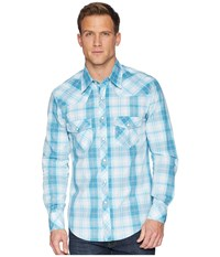 Rock And Roll Cowboy Long Sleeve Snap Plaid B2s6032 Aqua Clothing Blue
