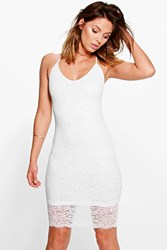 Boohoo Scallop Lace Strappy Bodycon Dress Ivory