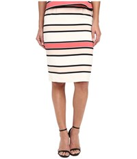 Vince Camuto Havana Stripe Back Zip Pencil Skirt Coral Sugar Women's Skirt Pink