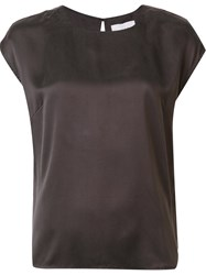 Just Female Ruched Design T Shirt Brown