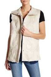 Jwla By Johnny Was Faux Fur Embroidered Vest Beige