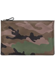 Valentino Camouflage Print Pouch Green