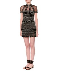 Valentino Short Sleeve Mock Neck Embellished Fringe Dress Black Size 8