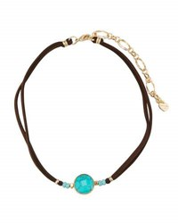 Nakamol Leather Choker Necklace W Turquoise Hued Stone