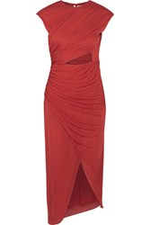Halston Heritage Cutout Ruched Stretch Jersey Dress Red