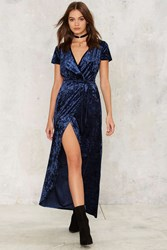Who's The Gloss Wrap Dress Navy 73923