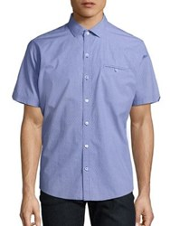 Zachary Prell Short Sleeve Button Up Shirt Purple
