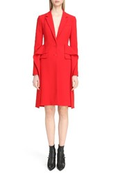 Givenchy Women's Wool Crepe Cutaway Ruffle Coat Red