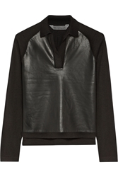 Reed Krakoff Leather Paneled Cashmere Merino Wool And Silk Blend Top