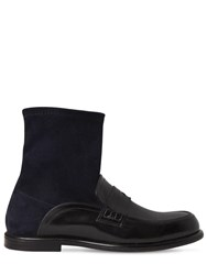 Loewe 20Mm Suede And Leather Ankle Loafer Boots Black Navy