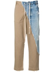 Greg Lauren Patchwork Straight Leg Trousers Neutrals
