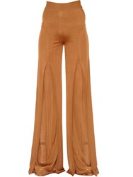 Balmain High Waisted Flared Fluid Knit Pants