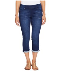 Liverpool Petite Sienna Pull On Rolled Cuff Capris On Silky Soft Denim In Havasue Deep Havasue Deep Women's Jeans Blue