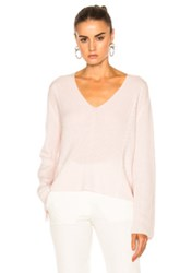 Ryan Roche Fwrd Exclusive V Neck Knit Sweater In Pink