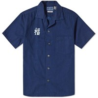 Blue Blue Japan Short Sleeve Indigo Dyed Fuku Work Shirt Blue