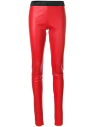 Drome Skinny High Waisted Trousers Red