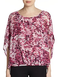 Ellen Tracy Printed Dolman Chiffon Top Pink Multi