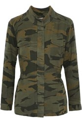 Splendid Printed Cotton Jersey Jacket Army Green