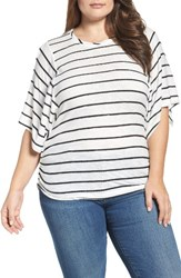 Democracy Plus Size Women's Stripe Dolman Sleeve Top