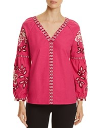Tory Burch Therese Embroidered Tunic Hibiscs Flower