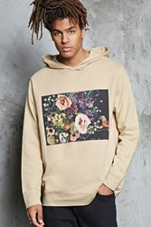 Forever 21 Floral Graphic Hoodie Taupe Black