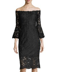 Jax Lace Off The Shoulder Dress With Bell Sleeves Black