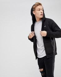 Hollister Full Zip Icon Logo Hoodie In Black Washed Black