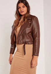 Missguided Plus Size Brown Faux Leather Biker Jacket Stone