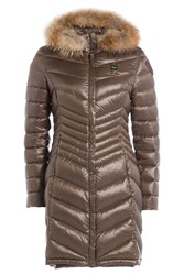 Blauer Quilted Down Coat With Fur Trim Brown