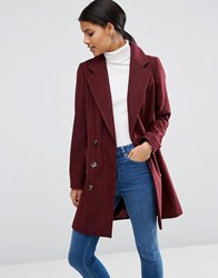 Asos Pea Coat With Seamed Pockets Berry Red