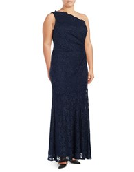 Decode 1.8 Floral Lace One Shoulder Gown Navy
