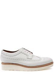 Grenson Agnes White Leather Flatform Brogues