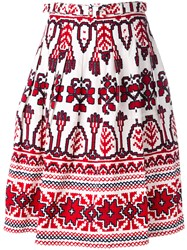 Samantha Sung Flared Printed Skirt White