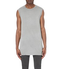 Boris Bidjan Saberi Longline Sleeveless Cotton Top Light Grey