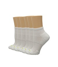 Hue Air Cushion 6 Pair Pack Quarter Top 3D Sole White White Women's Quarter Length Socks Shoes
