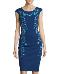 Jax Floral Embroidered Sheath Midi Dress Blue Pattern