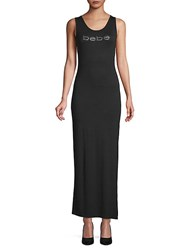 Bebe Embellished Logo Sheath Dress Jet Black