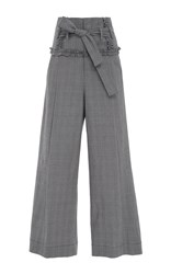 Marissa Webb Amber Aaron Plaid Cropped Pant Light Grey