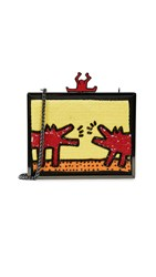 Alice Olivia X Keith Haring Abbey Embellished Clutch Barking Dog