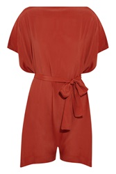 Vivienne Westwood Square Mile Draped Crepe Playsuit Red