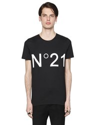 N 21 Logo Printed Cotton Jersey T Shirt