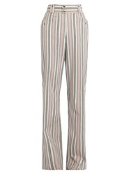 Isabel Marant Selina High Rise Striped Trousers Pink Multi