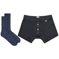 Schiesser Boxer Short And Sock Pack Blue