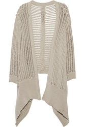 Rick Owens Draped Open Knit Cardigan Light Gray