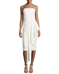 Milly Strapless Cascading Ruffle Dress White