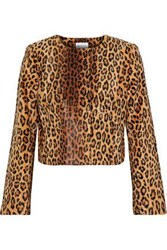 Milly Cropped Leopard Print Faux Fur Jacket Animal Print
