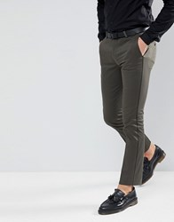 Noose And Monkey Super Skinny Trousers In Khaki With Piping Green