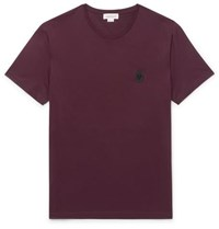Alexander Mcqueen Slim Fit Skull Embellished Cotton Jersey T Shirt Burgundy